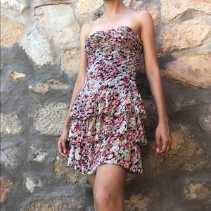 Strapless floral express dress